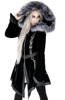 Black Velvet D-ring Coat with Oversized Hood Trimmed with Silver Fur