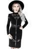 Black gothic Cross Pencil Dress with panels