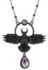 "Nordic talisman ""THE CROW PENDANT BLACK"" purple quartz"
