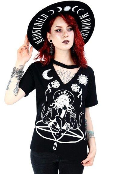 Czarny damski T shirt Ominous Cat | Restyle.pl