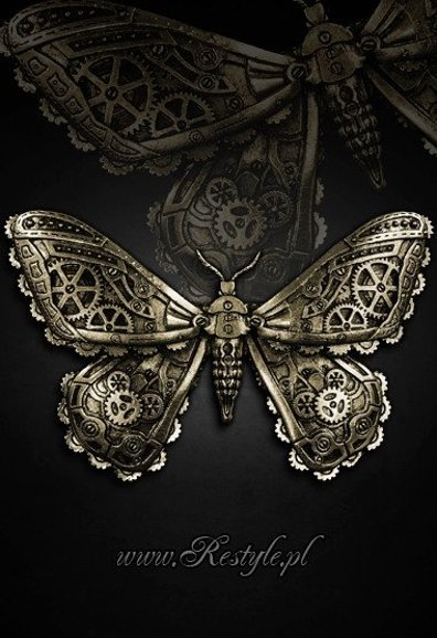 "Gotycka spinka do włosów ""MECHANICAL MOTH - BRASS"" Mechaniczna ćma"
