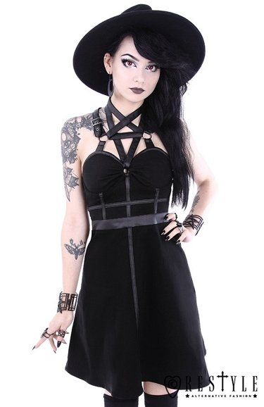 """PENTAGRAM PARTY DRESS"" Czarna krótka sukienka pentagram harness"