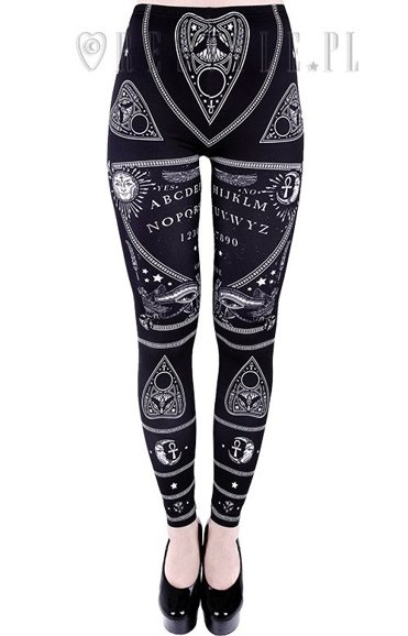 "legginsy ""OUIJA LEGGINGS"" czarne getry spirit board"