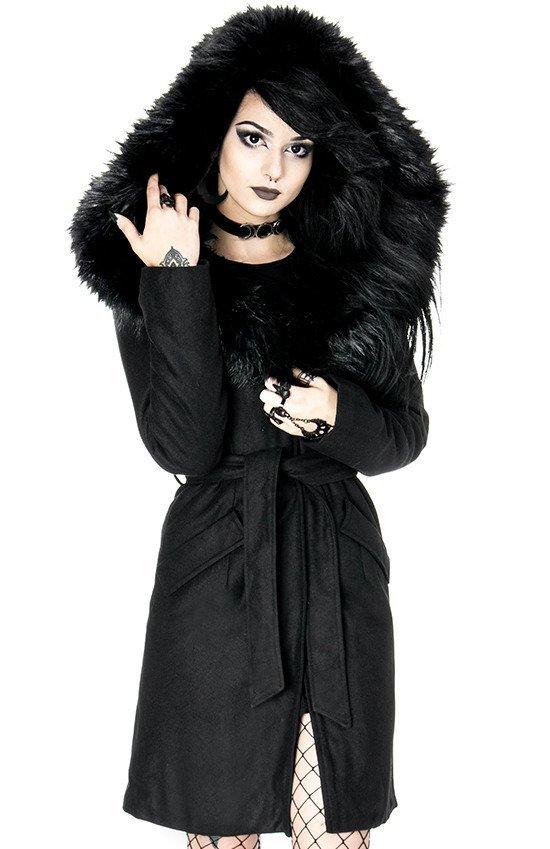 ARCANUM COAT Czarny gotycki płaszcz zimowy z ogromnym