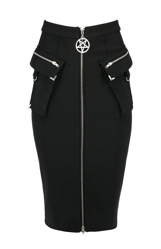Czarna militarna ołówkowa spódnica z kieszeniami UTILITY