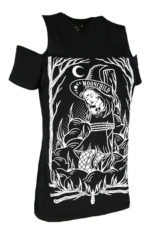 Czarny damski T-shirt gotycki BURN THE WITCH COLD SHOULDER
