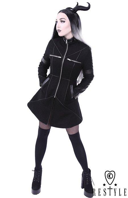 Czarny rozkloszowany płaszcz ocieplany, wełna, nowoczesna kurtka