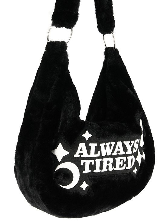 "Futrzana Torba worek z haftem  ""ALWAYS TIRED"""