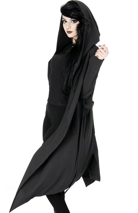 NOX COAT Długi czarny płaszcz z dużym kapturem, Gotycki