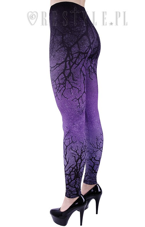 "Ombre legginsy fiolet, cieniowane getry ""PURPLE BRANCHES"""